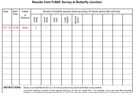 FrANC Big Butterfly Count Survey Form July-Aug 2018